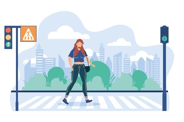 Женщина безликий переход дороги на пешеходном переходе