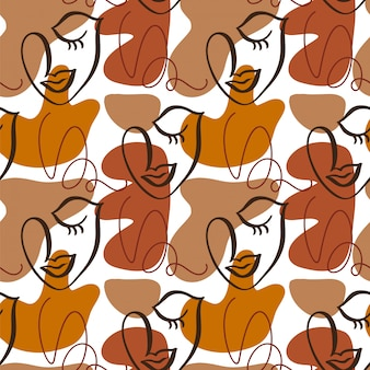 Woman faces seamless pattern modern abstract faces.