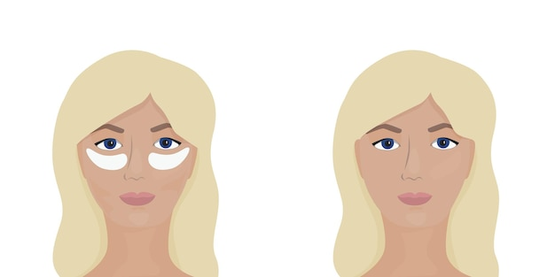 Woman faces with patches on face and without patches