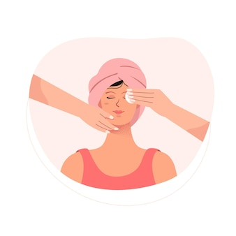 Woman facial massage and skin care at spa concept
