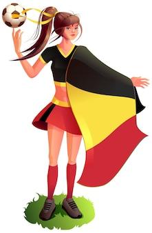 Женщина-фанат-футболист в спортивной форме держит бельгийский флаг и футбольный мяч