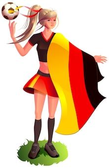 Женщина фанат футболист в спортивной форме держать немецкий флаг футбольный мяч мультфильм
