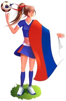 Женщина-фанат футболист в спортивной форме держит российский флаг и футбольный мяч вектор