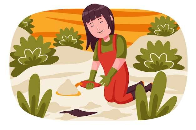 여자 농부는 식물을 심기 위해 땅을 파고.