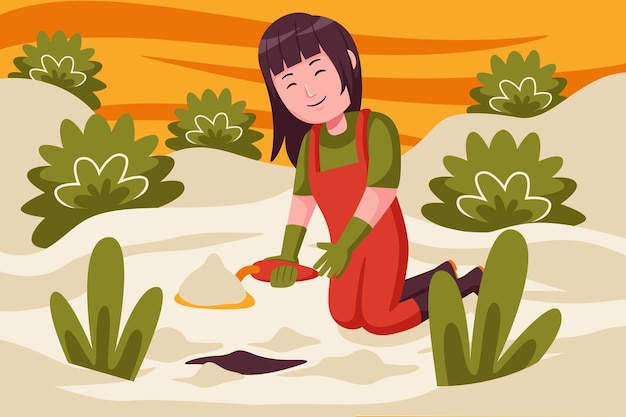 植物を植えるために地面を掘る女性農民。