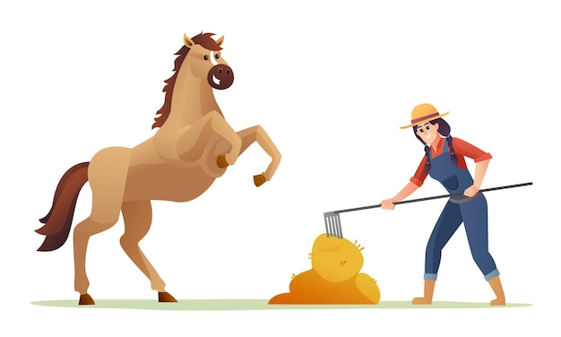 Женщина-фермер кормит лошадь сеном карикатура иллюстрации