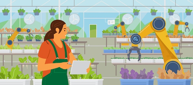 모바일 앱 glasshouse와 온실 관리 태블릿을 들고 여자 농부