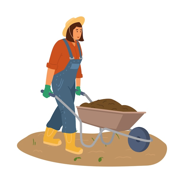 Woman farmer in overall and straw hat with wheelbarrow  with the ground illustration.
