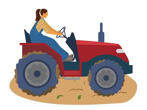 トラクターのイラストに乗る女性農夫。