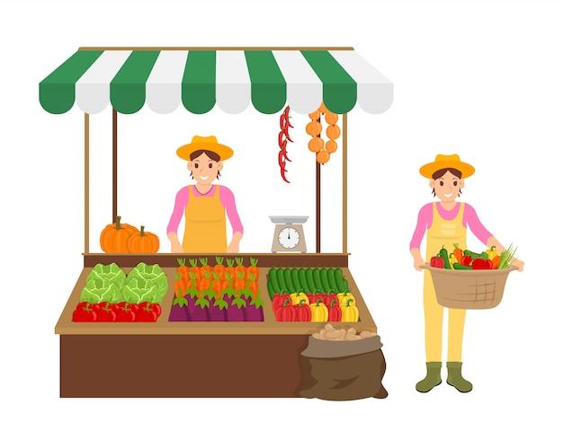 Woman and farmer s set