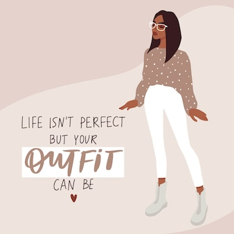 Woman fashion card in cartoon flat style. stylish girl in trendy clothes
