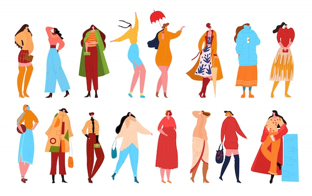 Woman fashion characters  on white   illustration. beautiful women in fashion clothes. female characters with accessories. ladies casual, fashionable elegant styles collection .
