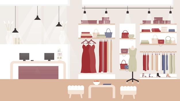 女性のファッション衣料品店のブティック、ショッピングモール、または物置のインテリア