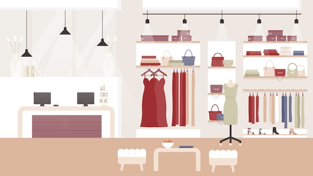 Woman fashion clothing shop boutique, shopping mall or store room interior