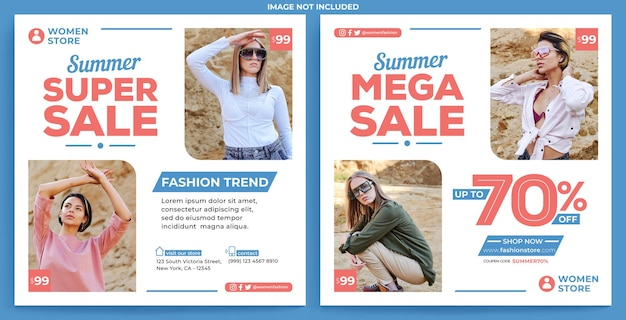 Woman fashion promotion instagram feed template in flat design style