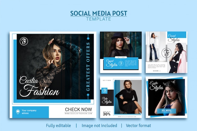 Woman fashion promotion social media post template design collection