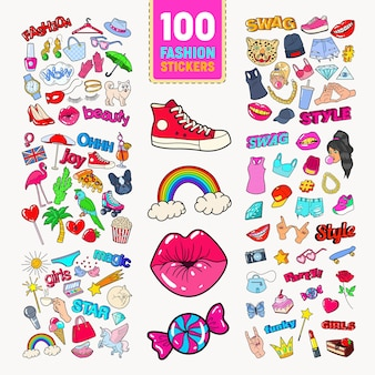 Woman fashion stickers collection with accessories and clothes