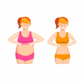 Woman fat and slim body symbol icon set concept in cartoon illustration  on white background