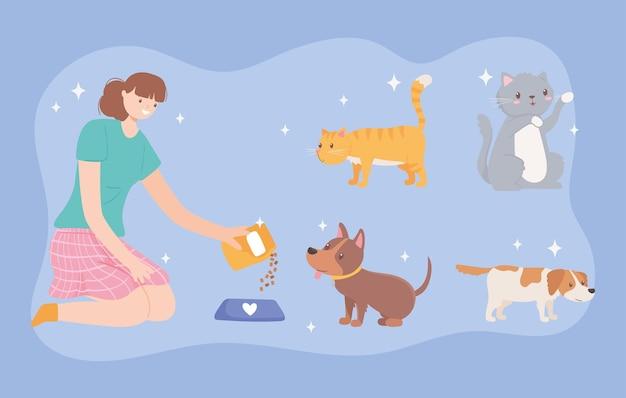 애완 동물에게 먹이를주는 여성