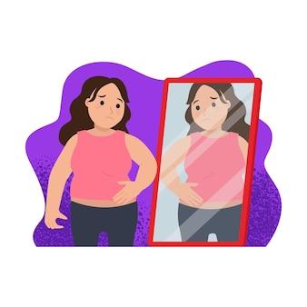 거울을 볼 때 슬픈 여자 비만 또는 뚱뚱한 개념 평면 벡터 디자인