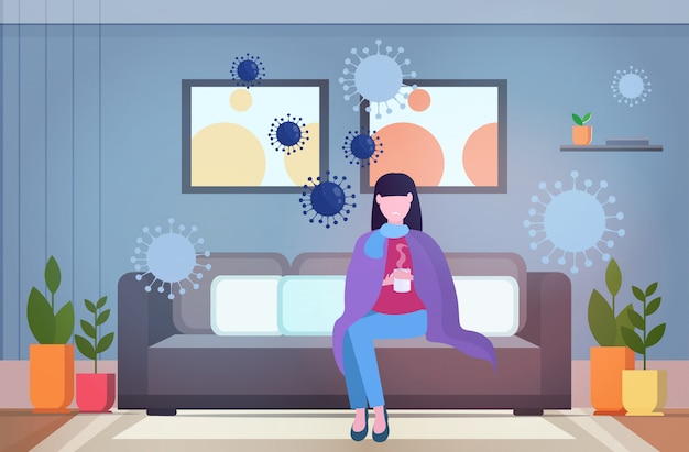 Woman feeling sickness epidemic mers-cov bacteria floating influenza virus cells wuhan coronavirus quarantine 2019-ncov pandemic medical health risk living room interior full length horizontal