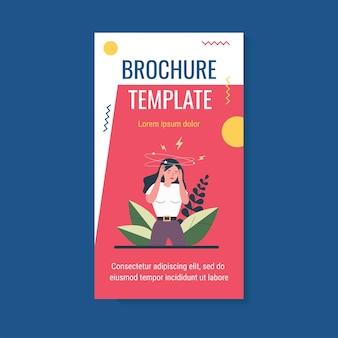 Woman feeling vertigo or dizzy brochure template