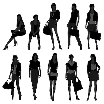 Женщина женская модель покупок моды.