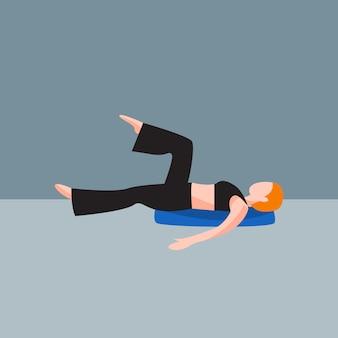 女女性ヨガのポーズリラクゼーションのイラスト