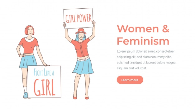 Woman and feminism landing page template. girl power, fight like a girl.