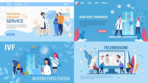 Woman fertilization telemedicine landing page set