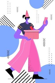 Woman in festive hat celebrating transgender love parade lgbt community concept vertical full length vector illustration