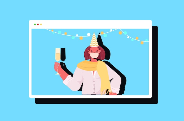 Woman in festive hat drinking champagne new year christmas holidays celebration girl in web browser window having fun online communication concept horizontal   illustration