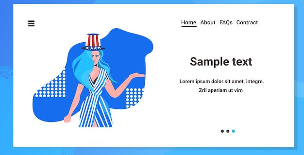 Woman in festive hat with usa flag, 4th of july american independence day celebration landing page
