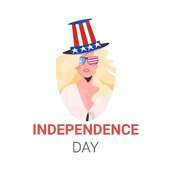 Woman in festive hat with usa flag celebrating, 4th of july american independence day celebration card