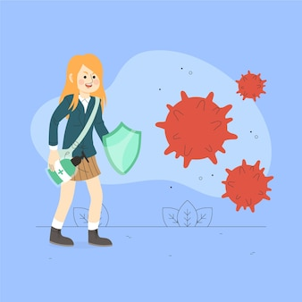 Woman fighting virus with shield