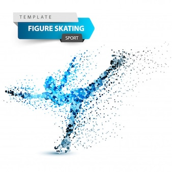 Woman figure skating on the white background