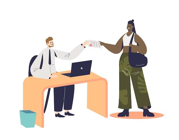 Женщина, заполняющая договор о медицинском страховании в клинике или больнице, иллюстрация