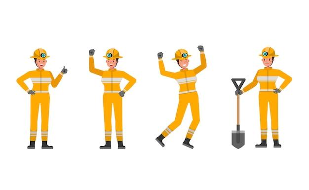 Женщина-пожарный персонаж в различных действиях