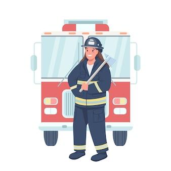 女性消防士フラットカラー詳細キャラクター。職場での男女平等。ウェブグラフィックデザインとアニメーションの機器を分離漫画イラストを保持している女性消防士