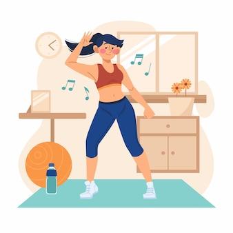 自宅で踊る女性のフィットネス