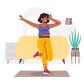 집에서 춤추는 여성 피트니스