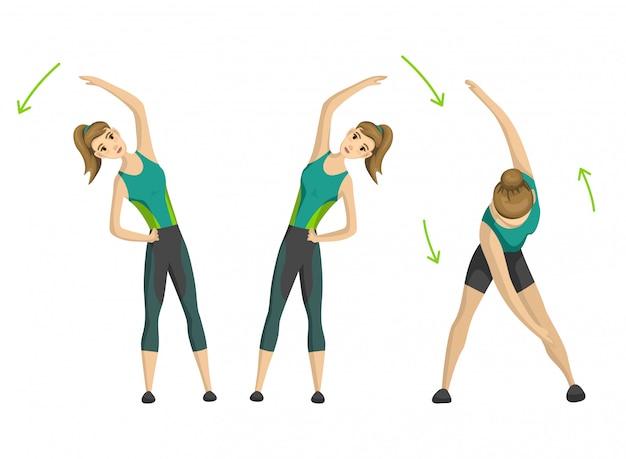 Женщина фитнес. девушка делает спортивные физические упражнения. женщина, осуществляющих различные различные позы обучения. концепция активной и здоровой жизни