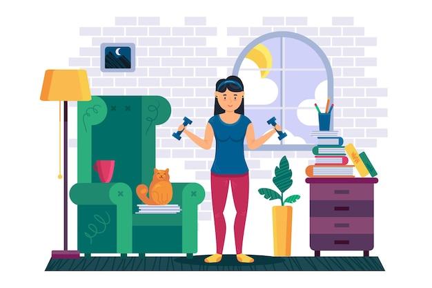 自宅で健康的な運動をしている女性のフィットネス