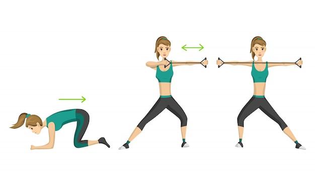 Женщина фитнес. тонкая женщина делает фитнес-тренировки с натяжкой.