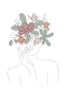 Woman floral head print female line drawing