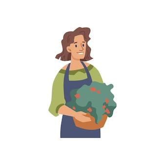 화분에 심은 식물 격리 된 평면 만화 캐릭터 정원사와 여자 꽃집 또는 꽃 판매자