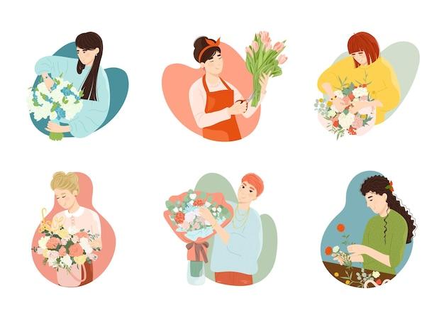 Владелец магазина флориста женщина составляет букет цветов для продажи. женский персонаж, работающий в розничном магазине флористов, создает красивую цветочную композицию