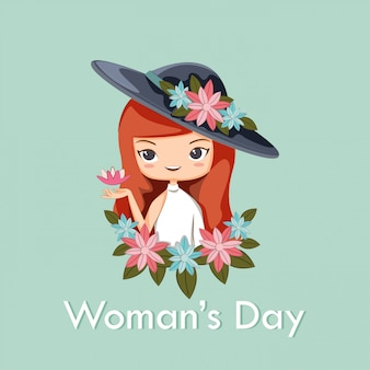 Woman and flower for woman's day poster