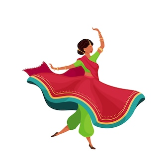 Woman in flowing sari flat color faceless character