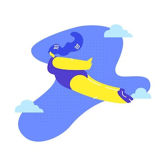 Woman flying, dreaming metaphor